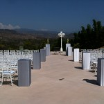 Ceremony on upper tier of property